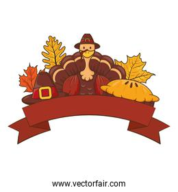 thanksgiving turkey wearing pilgrim hat with leafs and pie