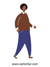 afro ethnic man walking character icon