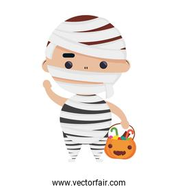 happy halloween cute boy disguise mummy character