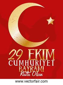 ekim bayrami celebration lettering with golden moon and star