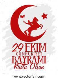 ekim bayrami celebration cartel with soldier in horse waving flag and crescent moon