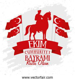 ekim bayrami celebration poster with soldier in horse and flags