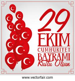 ekim bayrami celebration lettering with balloons helium in gray background