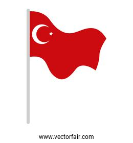turkey flag in pole isolated icon