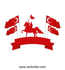 turkish military on horse with turkey flags emblem frame