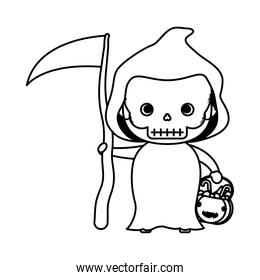 happy halloween cute kid disguise death character