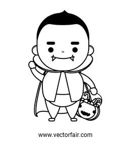 happy halloween cute kid disguise dracula character