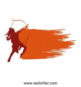 dussehra lord ram with bow and arrow red silhouette vector design
