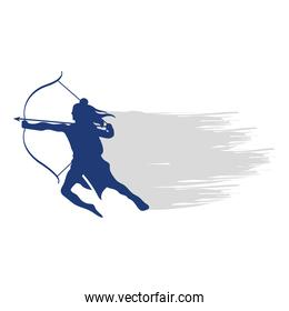 dussehra lord ram with bow and arrow blue silhouette vector design