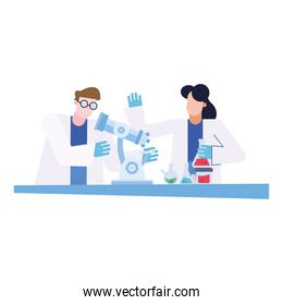 chemical couple  with microscope and flasks at desk vector design