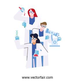 chemical man and women with microscope vector design