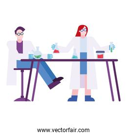chemical man and woman with flasks at desk vector design