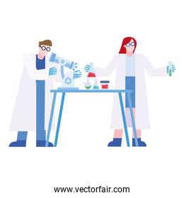 chemical man and woman with microscope and flasks at desk vector design