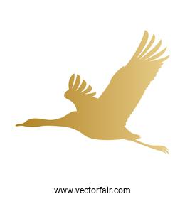 Isolated gold stork vector design