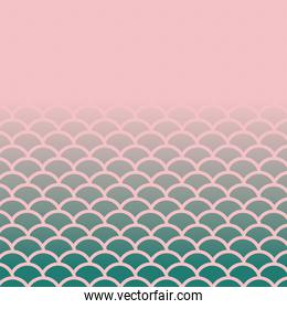 pink with green scales background vector design