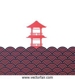 chinese building red vector design