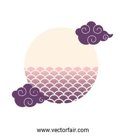 scales circle ornament with clouds vector design
