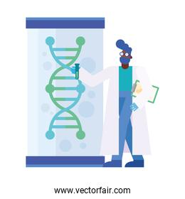 dna structure in jar and chemical man vector design