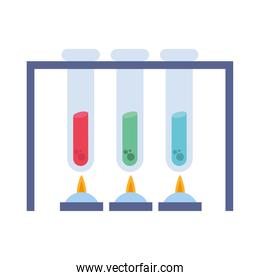 chemistry tubes with flames vector design