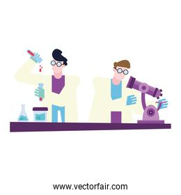 chemical men with microscope and flasks at desk vector design