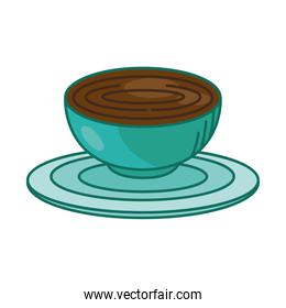 tea cup on plate line and fill style design vector
