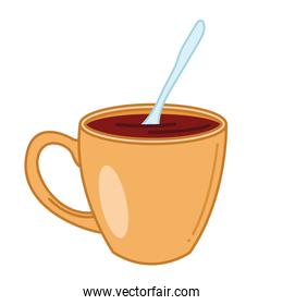 tea mug with spoon line and fill style icon vector design