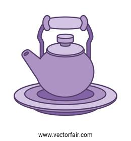 tea pot on plate line and fill style icon vector design