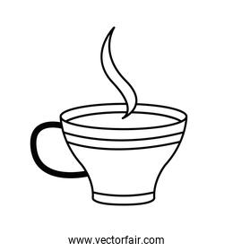 tea cup with smoke line style icon vector design