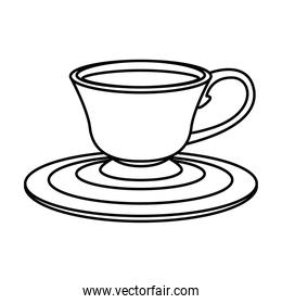 tea cup on plate line style icon vector design