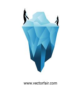 penguins on iceberg vector design