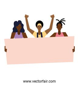 Black lives matter women and man with banner vector design