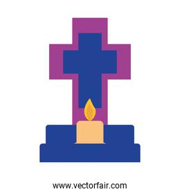 mexican cross grave with candle flat style icon vector design