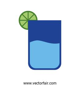 cocktail glass with lemon flat style icon vector design