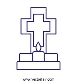 mexican cross grave with candle line style icon vector design