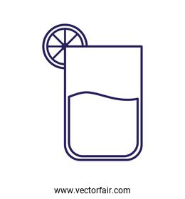 cocktail glass with lemon line style icon vector design