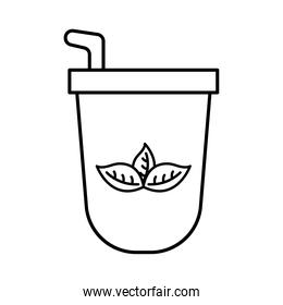 iced tea mug with leaves line style icon vector design