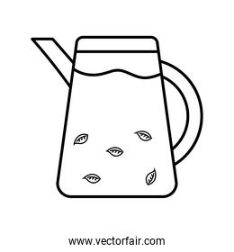tea kettle with leaves line style icon vector design