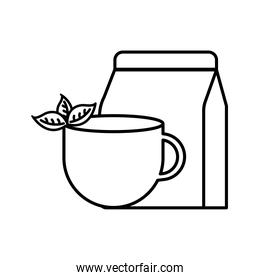 tea cup with leaves and bag line style icon vector design