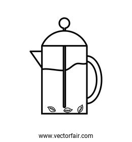 tea pot with leaves line style icon vector design