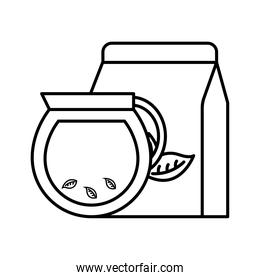 tea pot with leaves and bag line style icon vector design