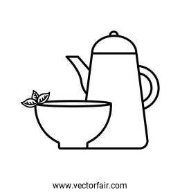 tea cup with leaves and kettle line style icon vector design