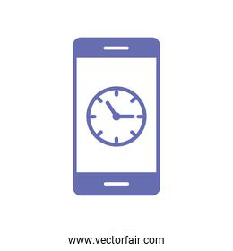 clock in smartphone line and fill style icon vector design