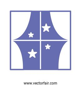 window with stars line and fill style icon vector design