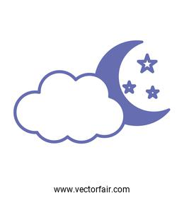 moon with cloud and stars line and fill style icon vector design