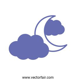 moon with clouds line and fill style icon vector design