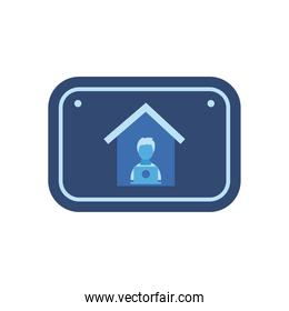 Man with laptop working from home flat style  vector design illustration