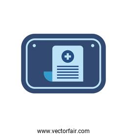 document with cross in road sign flat style icon vector design