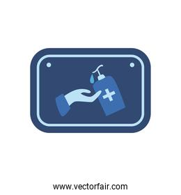 Hand and soap bottle flat style icon vector design