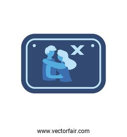 social distance between woman and man in road sign flat style icon vector design