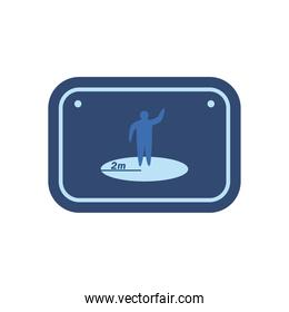 social distance in road sign flat style icon vector design